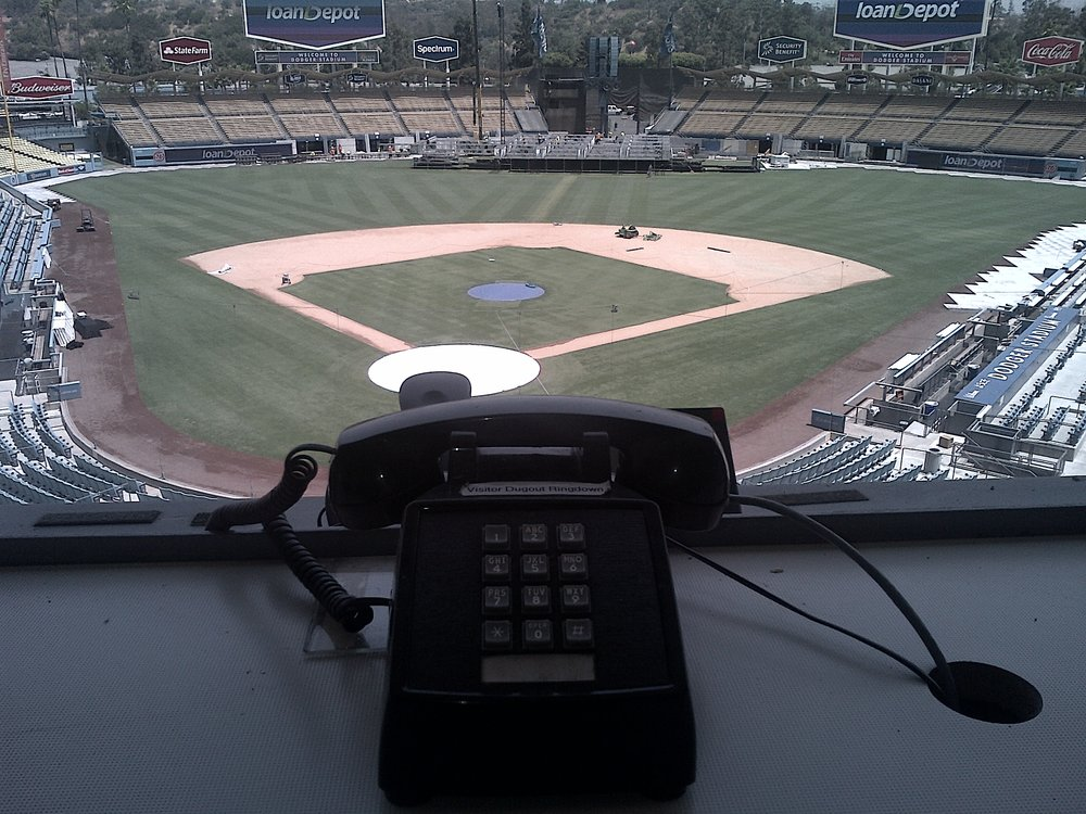 view from the press box - everything is original here for the 3rd oldest ball park in mlb - even the phones!