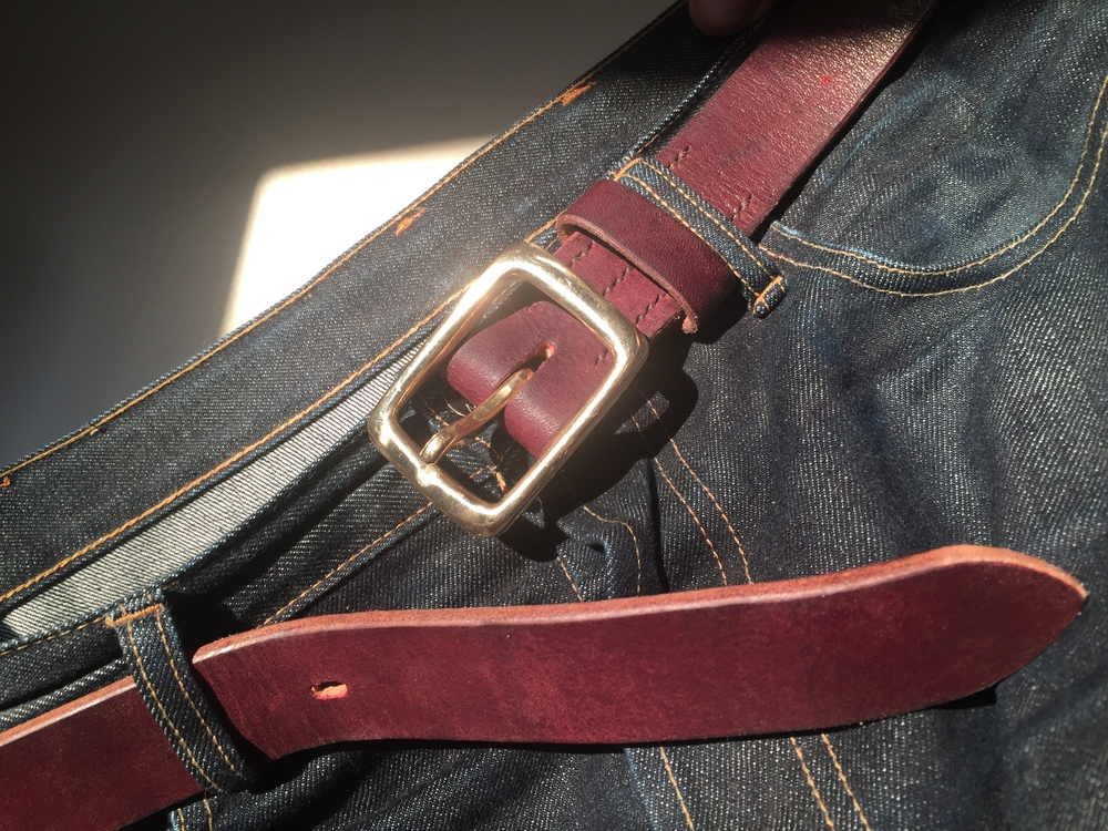 Handmade brass buckle and belt