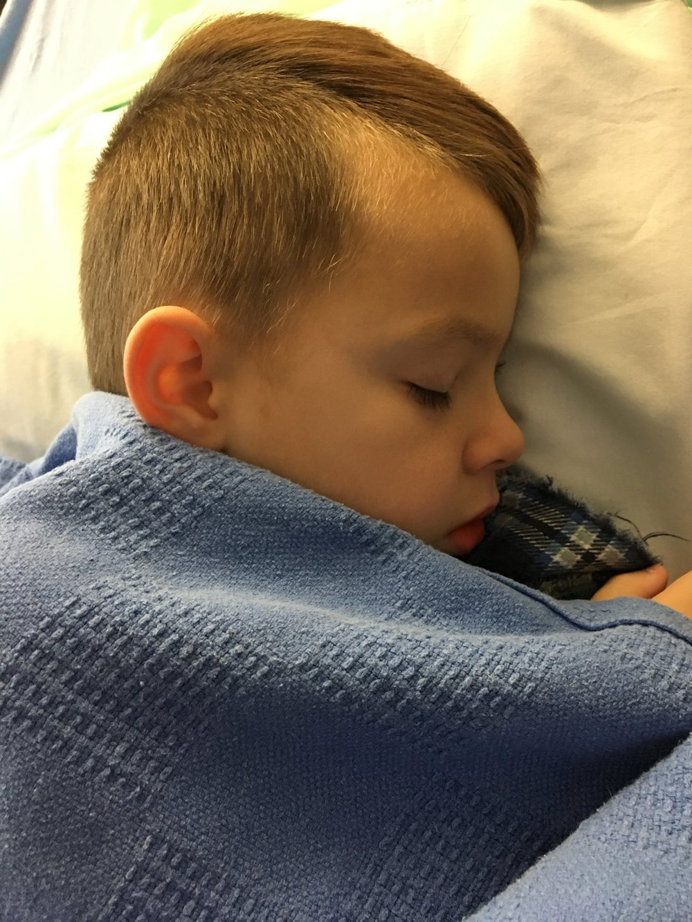 Gabe right after surgery...note Blue Blanket peeking out from under the covers...