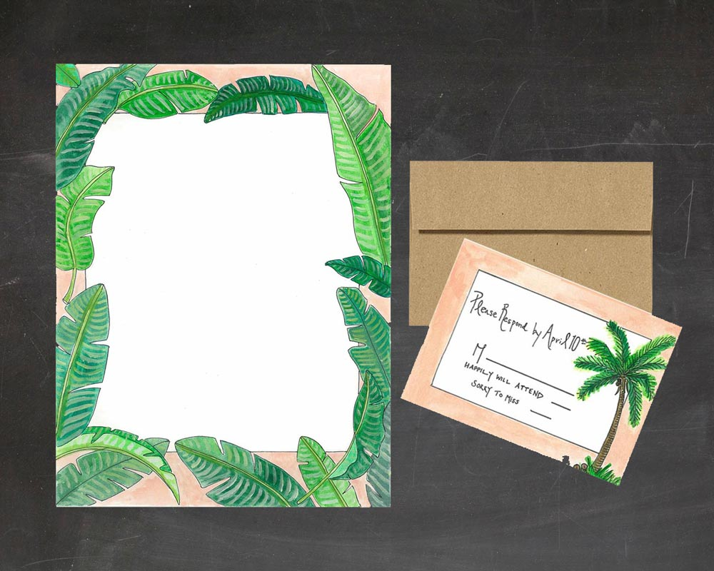 Palm Print Wedding Invitations