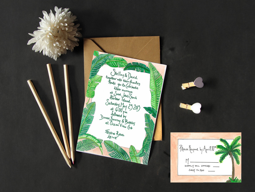 Palm Print Wedding Stationery by Lara Glaister
