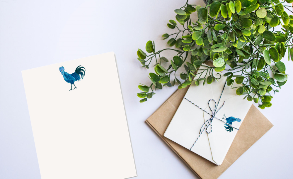 Blue Rooster Custom Stationery