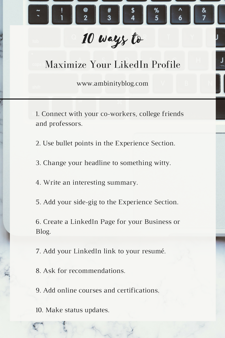 10 ways to maximize your linkedin profile ambinity