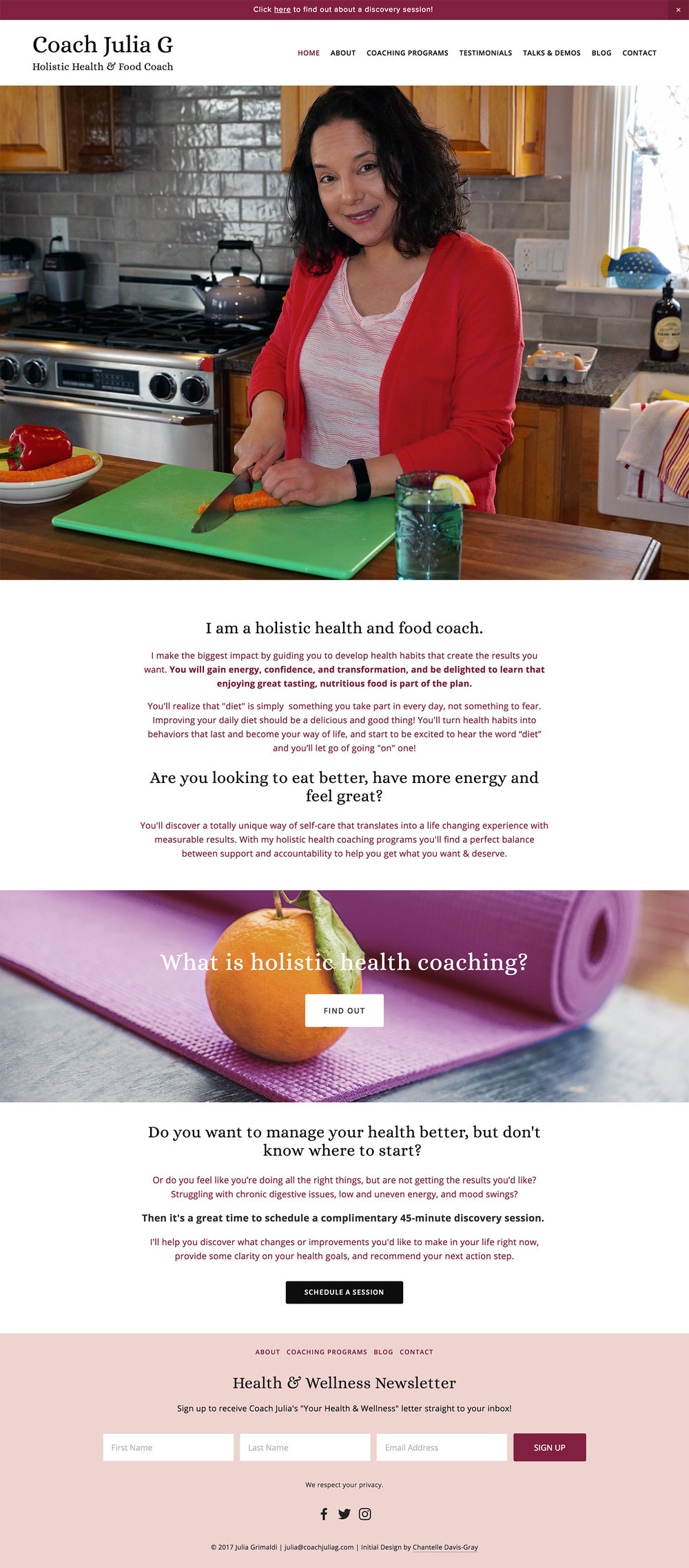 health coach nutrition coach website design squarespace design