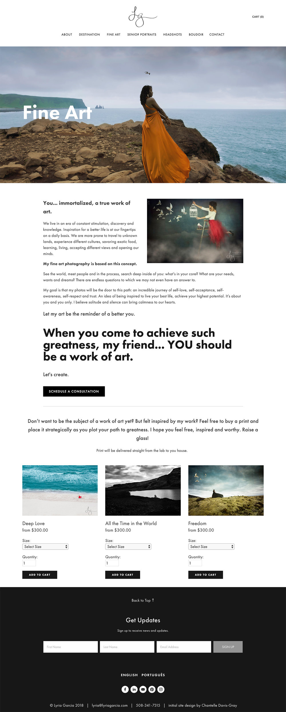 Bilingual squarespace website for international photographer