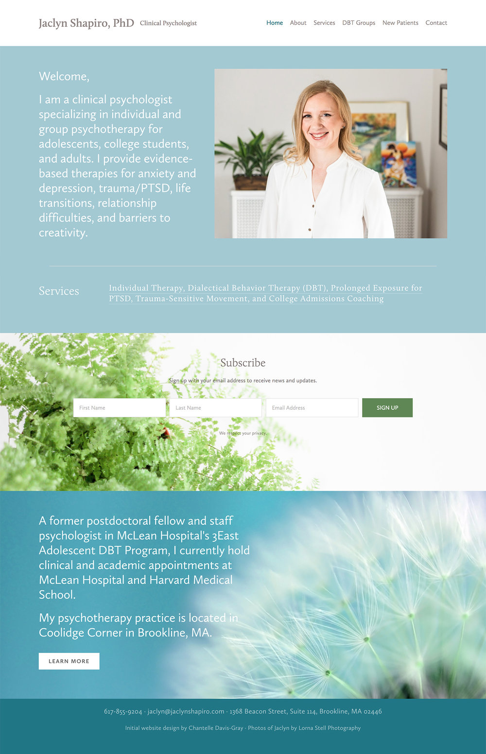 brookline psychologist's squarespace website