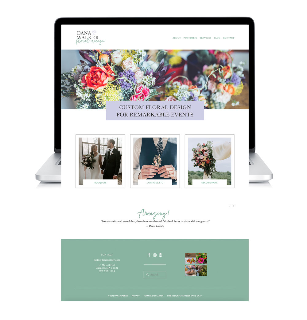 floral designer home page built on squarespace