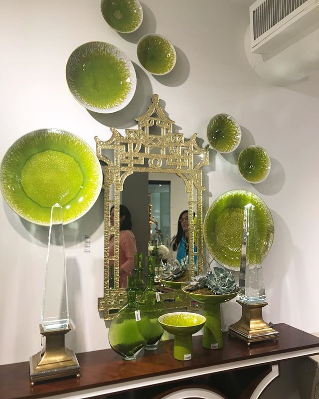 Love the way these green plates look styled around a statement wall mirror! Plates are currently in stock. 😍 #jordantaylorstyle