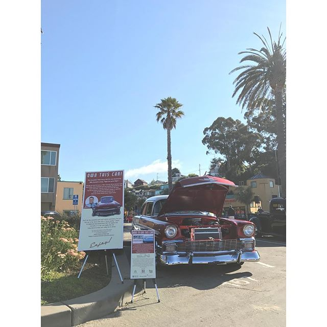 Here at the Capitola Rod and Custom Car Show! Come see how you can win our car! . . . . . #belair #chevrolet #chevy #chevybelair #56chevy #1956belair #hotrod #custom #carshow #auction #winme #capitolacarshow #capitola #classiccar #v8 #billygardell #mikeandmolly #melissamccarthy #warnerbrothers #cbs
