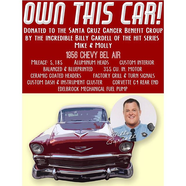 "This beautiful 1956 Chevy Bel Air was donated by the generous Billy Gardell, ""Mike"" of ""Mike & Molly"". Check it out today and tomorrow at the Capitola Car Show!! . . . . . #belair #chevrolet #chevy #chevybelair #56chevy #1956belair #hotrod #custom #carshow #auction #winme #capitolacarshow #capitola #classiccar #v8 #billygardell #mikeandmolly #melissamccarthy #warnerbrothers #cbs"