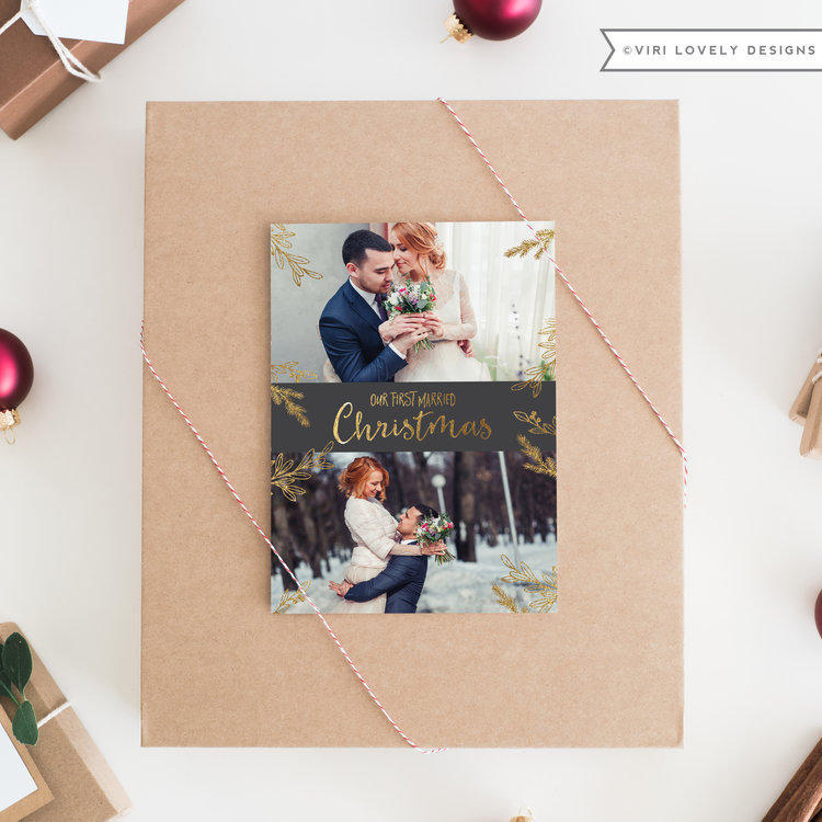 Our First Married Christmas | Faux Gold | 5x7 | #737