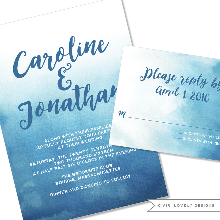 Viri lovely designs custom wedding invitations event invitations ocean blue watercolor wedding invitation 123 junglespirit Choice Image
