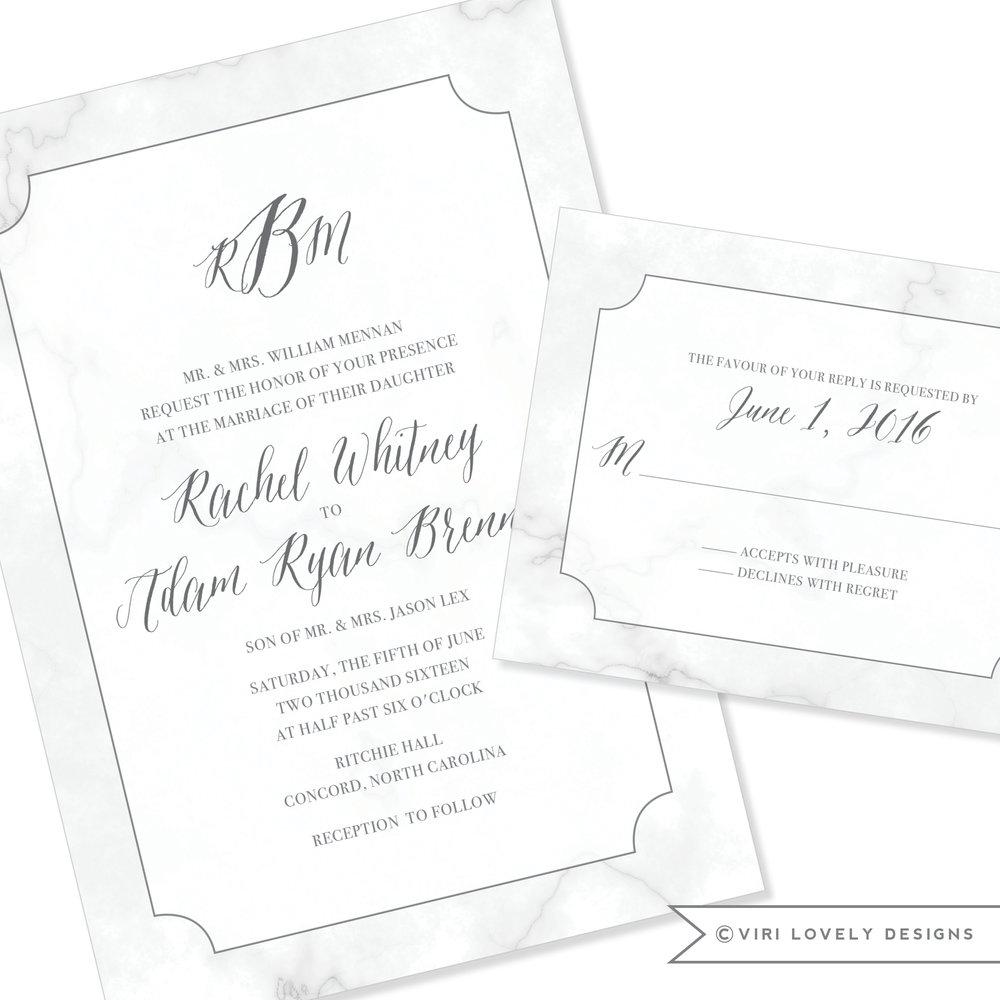 Great Marble Wedding Invitation Charlotte NC Feminine Monogram #135