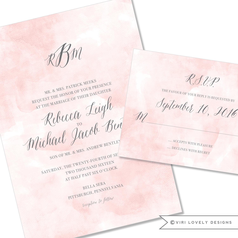 Viri lovely designs custom wedding invitations event invitations blush watercolor wedding invitation with monogram 141 junglespirit Gallery