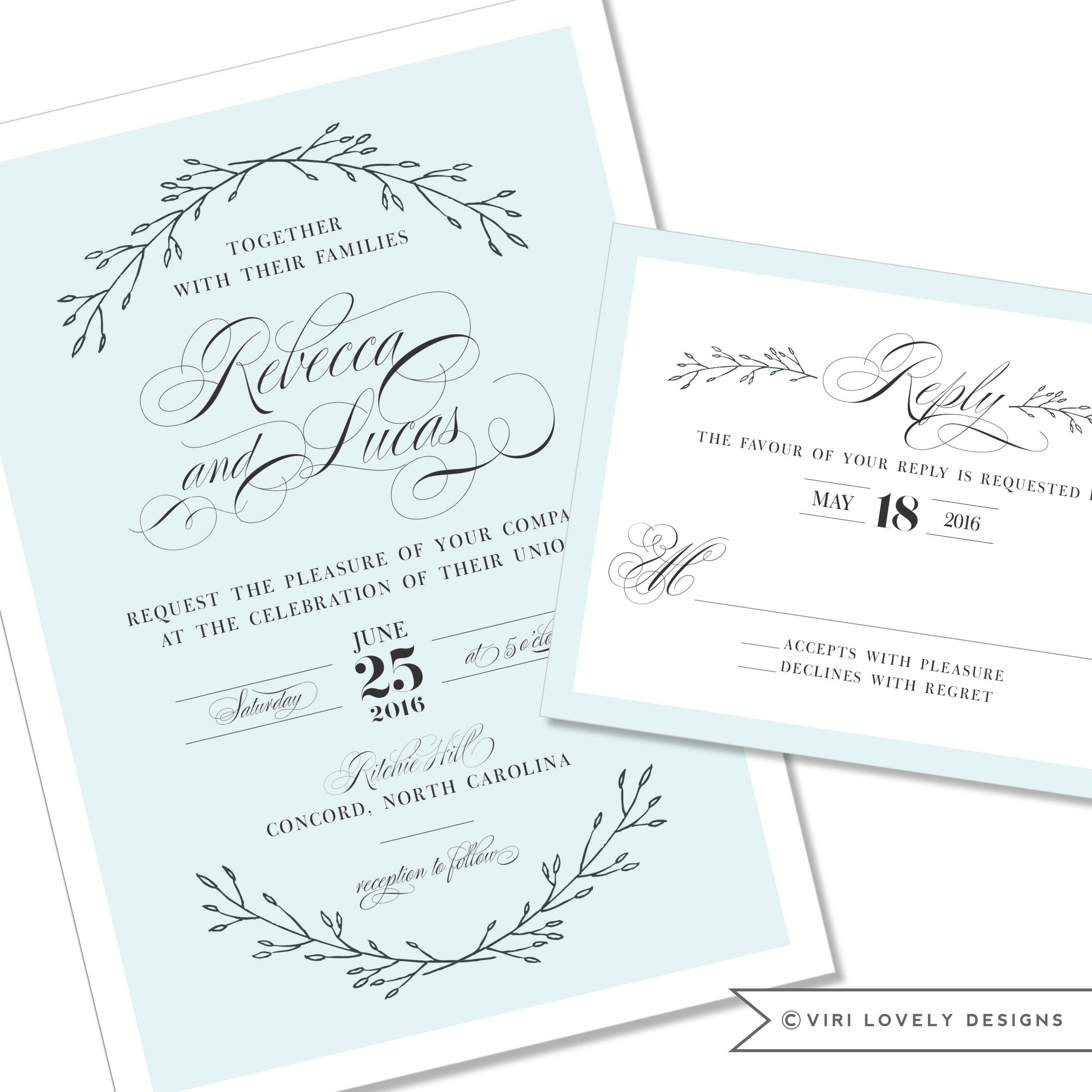 Romantic Laurel Wedding Invitation #401