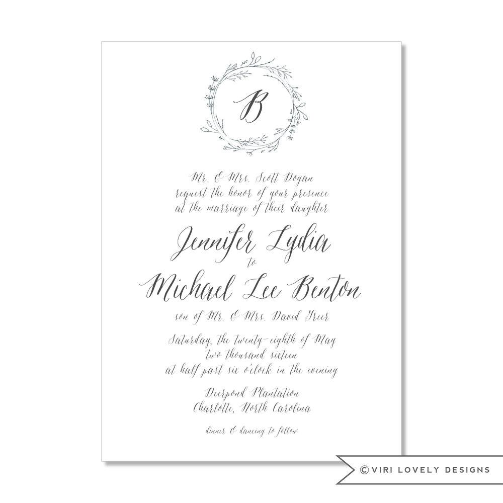 Leaf Wreath Wedding Invitation #403
