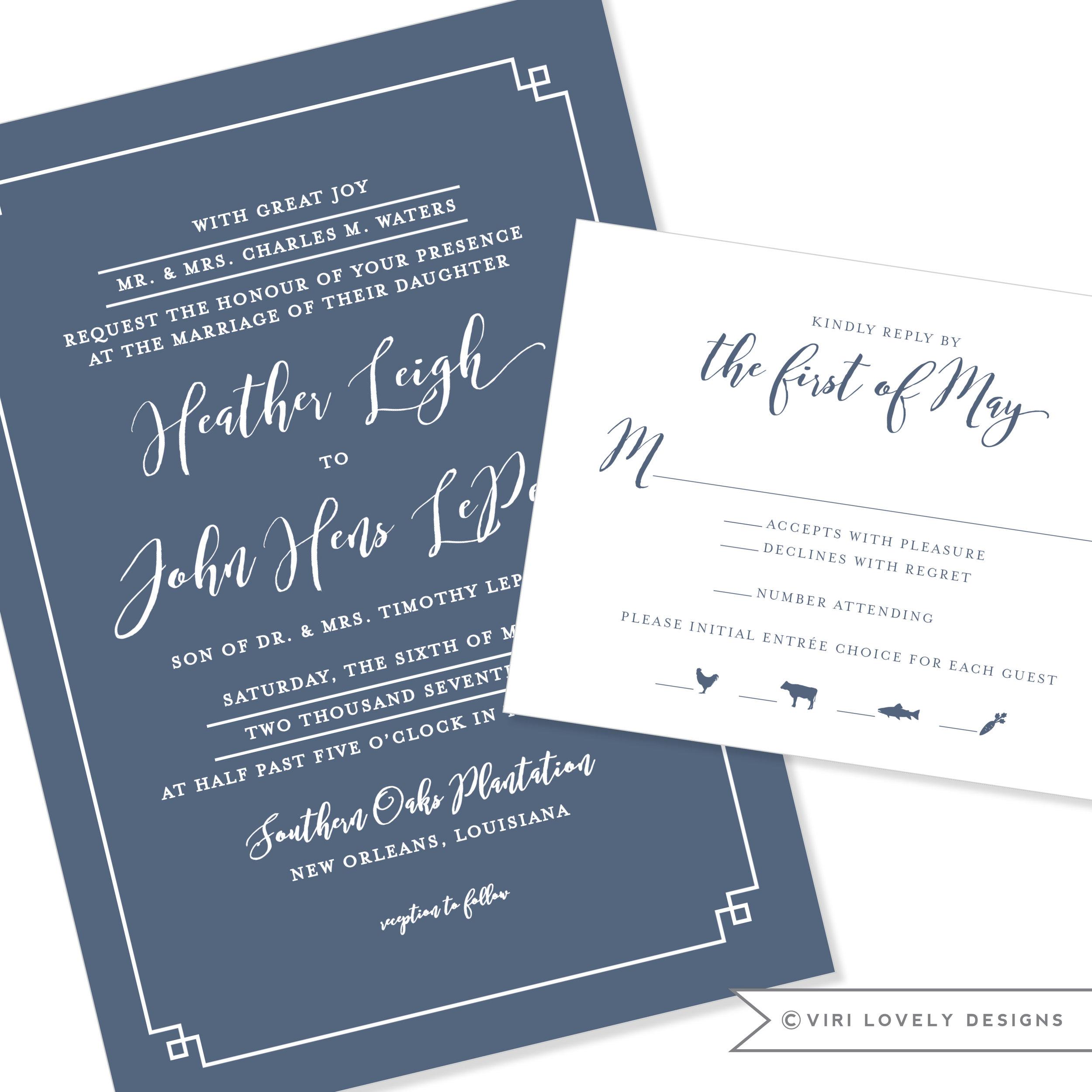 Attractive Romantic Modern Wedding Invitation #1170