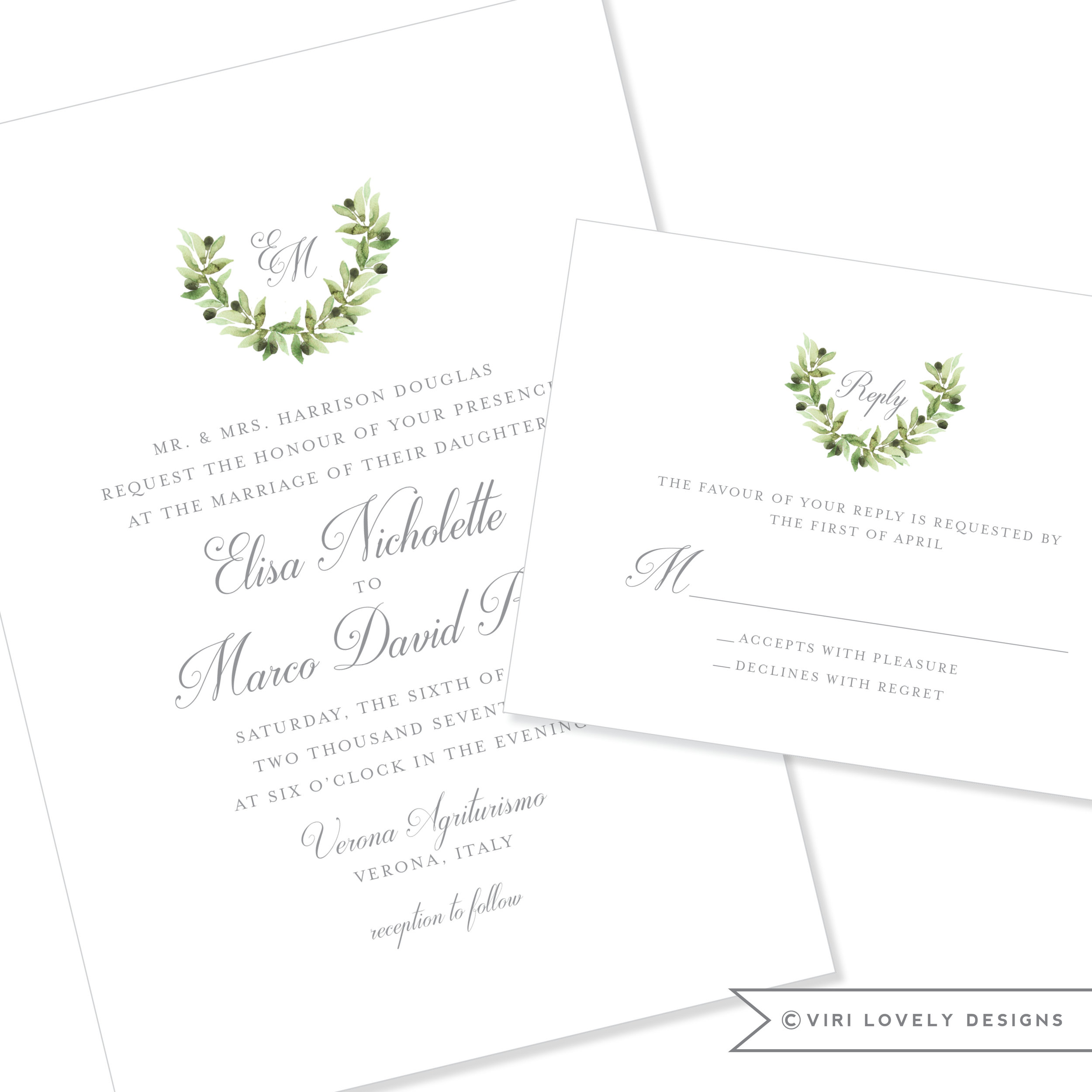 Olive Monogram Crest Wedding Invitation #1207