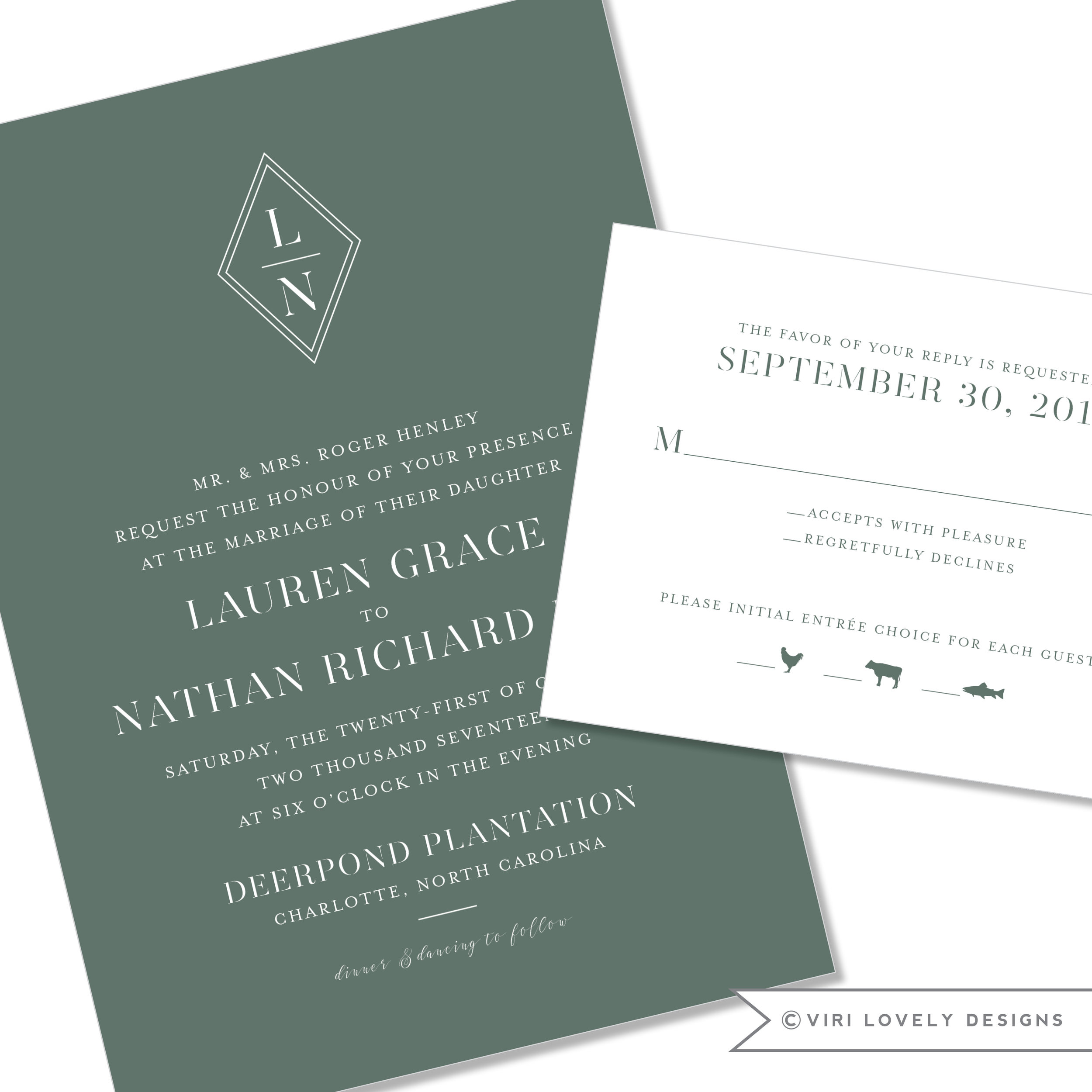 Modern Monogram Wedding Invitation #1219