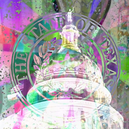 Texas Capital Building + Texas seal + paper collage