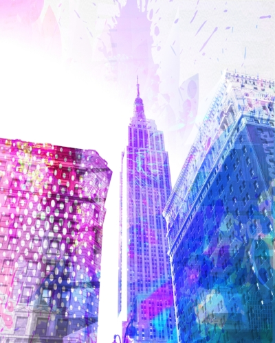 Empire State Building + patterned/splashed overlay
