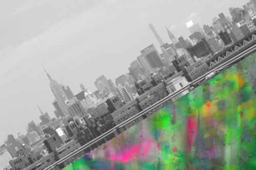 NYC skyline diagonal + colorful graffiti