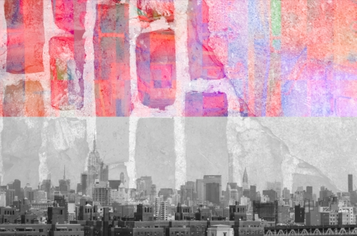 B&W NYC skyline + Brick wall at Gristmill in Gruene, TX + Paper collage