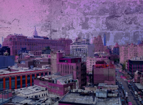 Rooftops and the tip of the Empire State Building + Brick wall inside Chelsea Market + grape candy coloring