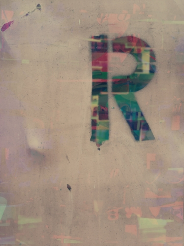 The letter R on a dumpster + Colorful digital collage