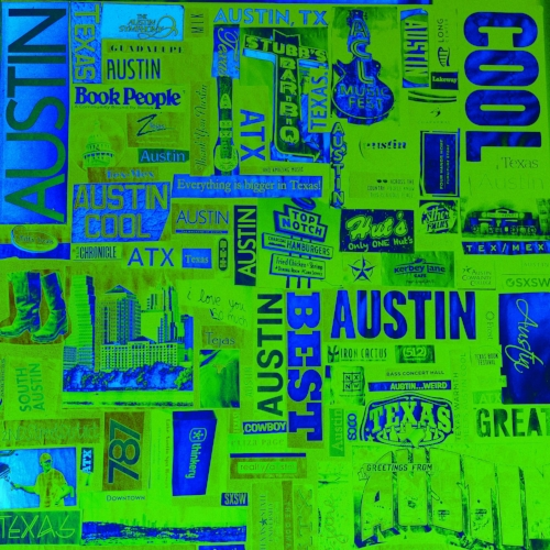 All things Austin magazine collage + Blue/green coloring