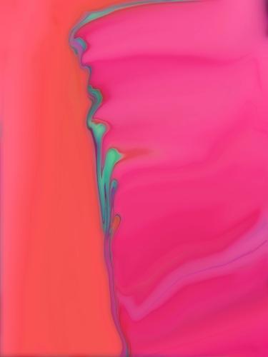 Abstract flowy pink + orange + aqua