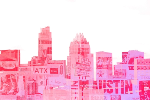 ATX skyline + Austin Monthly magazine collage + pink coloring