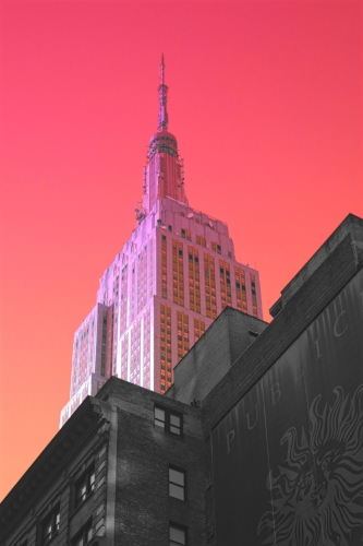 Empire State Building + orange/pink coloring