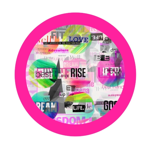 Positive words collage + pink circle