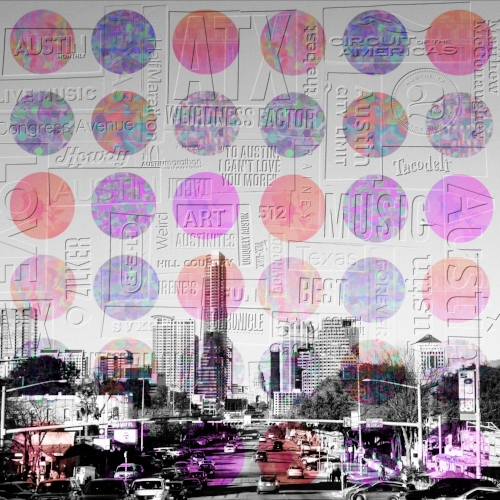 South Congress Ave + Everything Austin collage + abstract dots