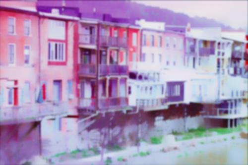 Owego NY Riverrow + blur + purple/red coloring