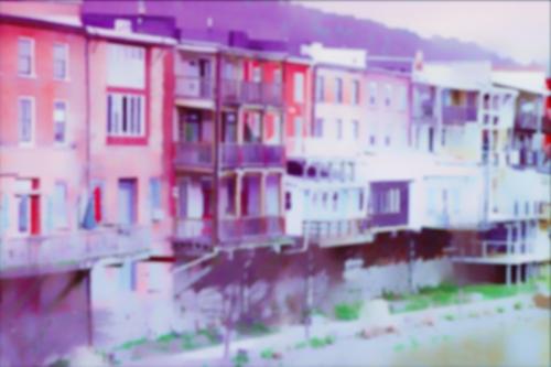 Owego NY Riverrow + blur + purple/red coloring