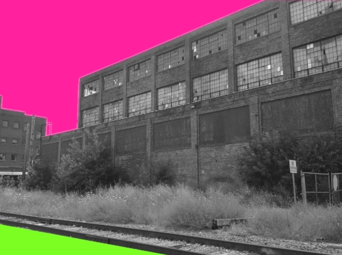 Endicott Johnson factory in Johnson City NY + pink/green splashes