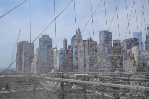 NYC skyline from Brooklyn Bridge + Brick wall inside Chelsea Market