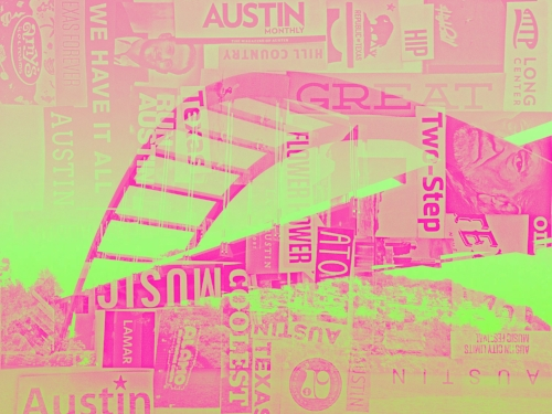 360 (Pennybacker) Bridge + Austin Monthly Magazine paper collage