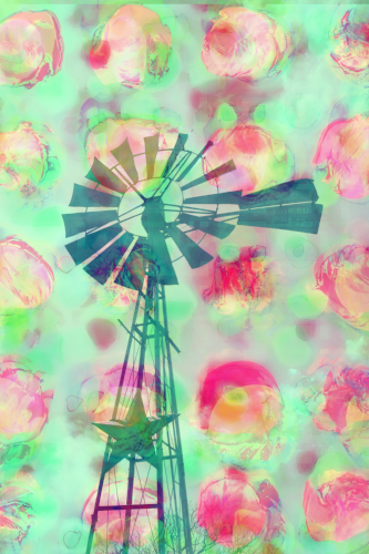 Texas windmill photo + Minty abstract