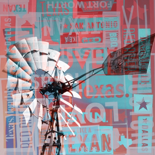 The Oasis windmill + Texas word collage