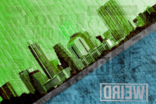 ATX on a slant + Brick wall + Word collage