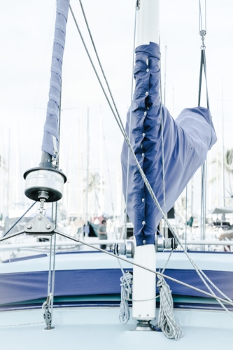 Blue-covered sails