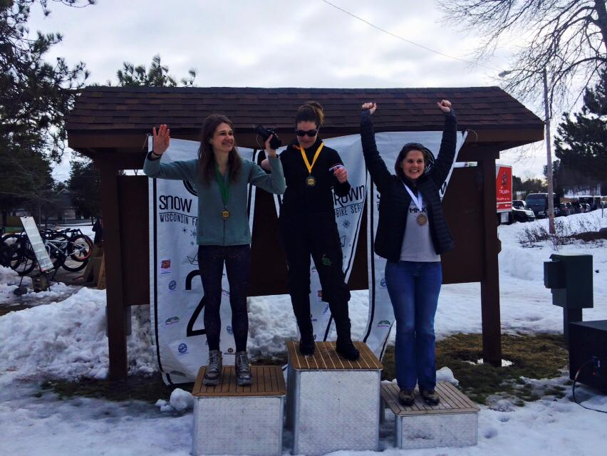 Women's Short Race 26-49 Podium. 1st: Kelly Raber, 2nd: Katie Meyer, 3rd: Kelsey Kellermann.