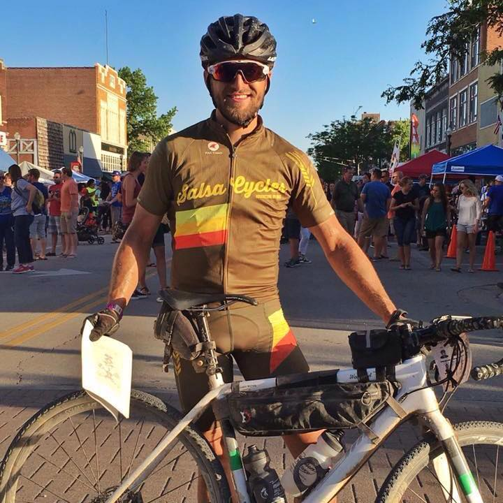 Justin at the finish line of the DIrty Kanza, at which he finished in 20th place. A remarkable feat over a brutal 206(!) mile course.