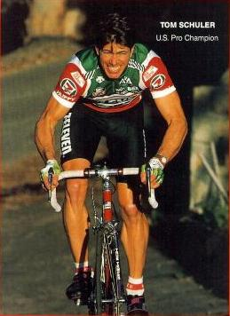 Schuler as a National Road Race Champion and member of the 7-11 team.