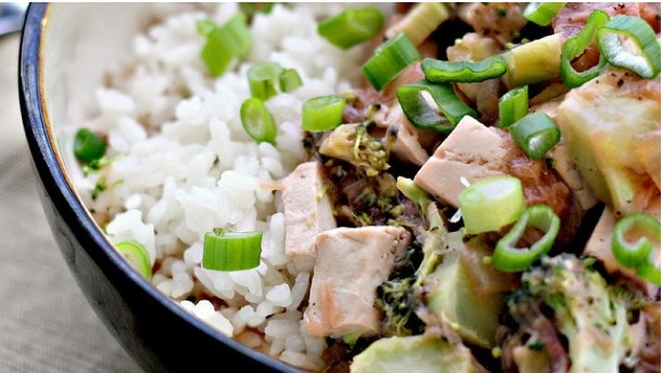 Braised Tofu with Caramelized Onion and Cardamom Rice