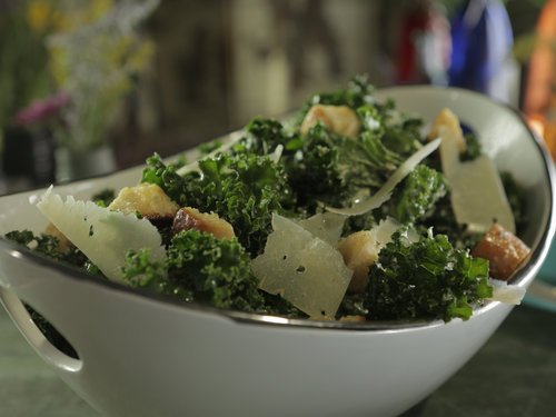 Kale Ceasar Salad with Garlic Croutons and Capers