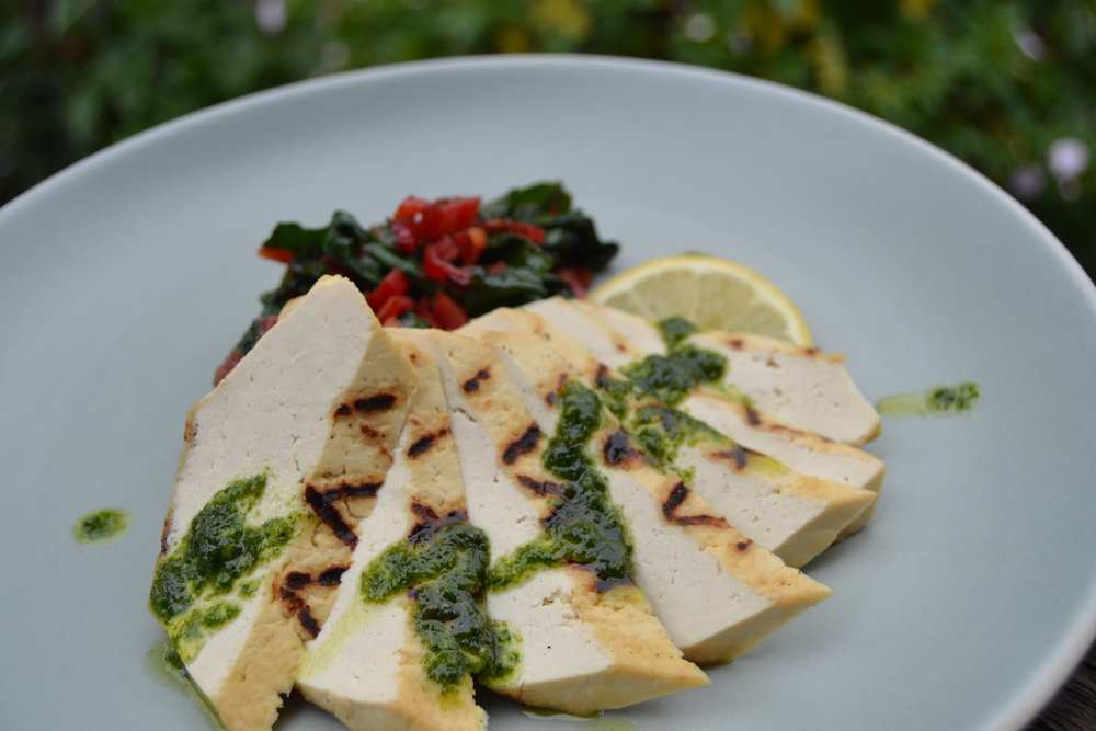 Grilled Tofu with Salsa Verde and Full Belly Farms Rainbow Chard